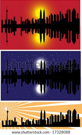 vector cityscape of night time, evening and sunburst.