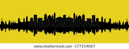 Vector cityscape silhouette over yellow background illustration