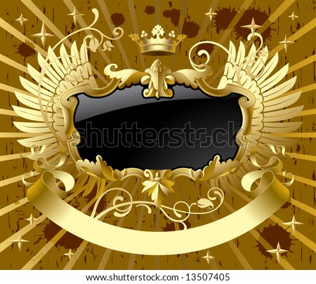 Vector classic gold-black banner with wings
