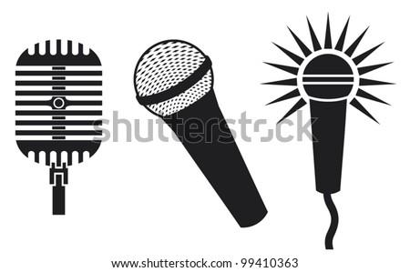 Vector Classic Microphones Symbols (Microphones Icon, microphones set)