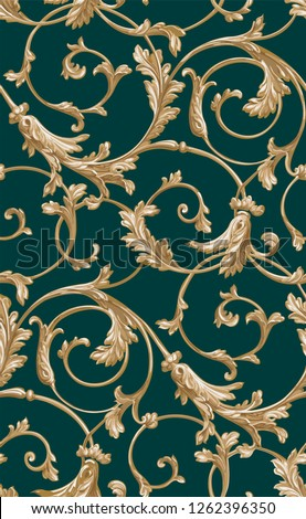 Vector classic seamless pattern background.Classical luxury old fashioned classic ornament,r wallpapers, textile, wrapping. Exquisite floral baroque template.emeral