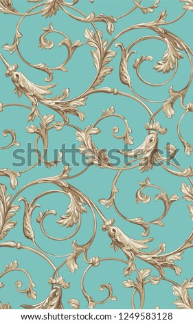 Vector classic seamless pattern background. Classical luxury old fashioned classic ornament, royal victorian seamless texture for wallpapers, textile, wrapping. Exquisite floral baroque template.