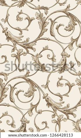 Vector classic seamless pattern background. Classical luxury old fashioned classic ornament, royal victorian seamless texture for wallpapers, textile, wrapping. Exquisite floral baroque template. beig