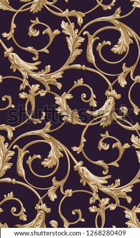 Vector classic seamless pattern background. Classical luxury old fashioned classic ornament, royal victorian seamless texture for wallpapers, textile, wrapping. Exquisite floral baroque template.purpl