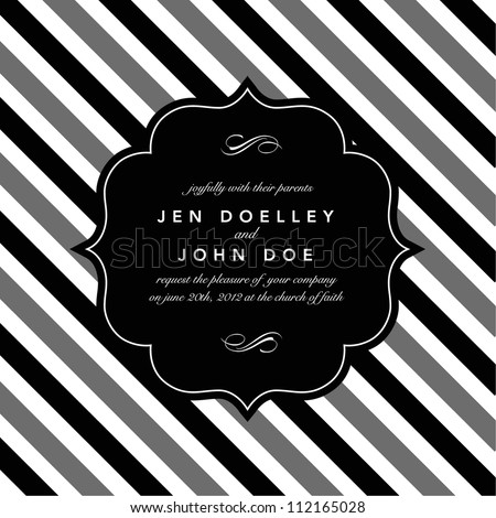 Vector Classic Striped Background and Frame. Easy to edit. Perfect for invitations or announcements.