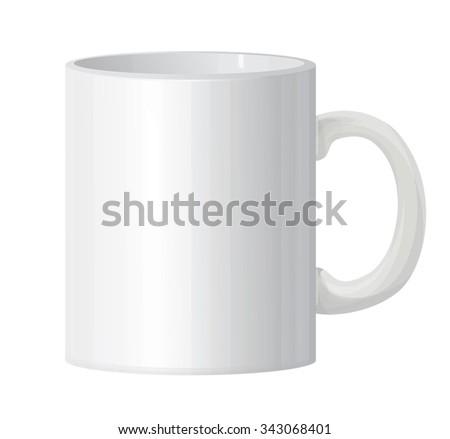 Vector classic white mug isolated. #343068401