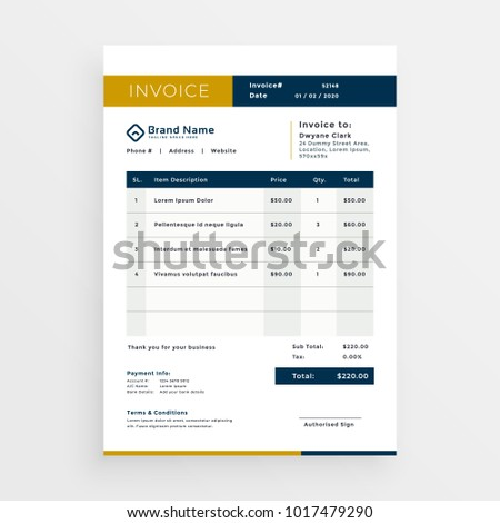 vector clean invoice template design #1017479290