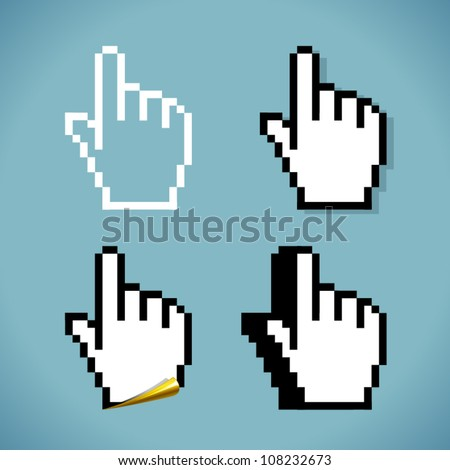 Vector CLICK hand sign in four variations