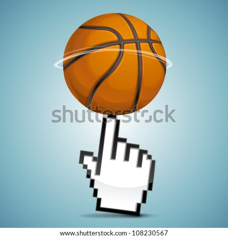 Vector click sign hand with spinning basketball ball