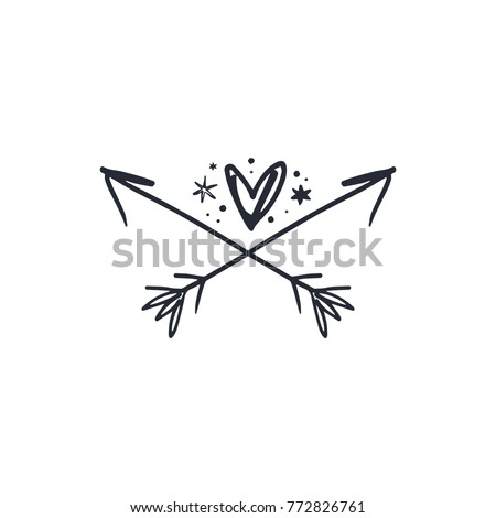 Vector, clip art, hand drawn. Emblem, magical, heart, arrows, hand logo, boho style tattoo. Decor elements, print for cards, posters, t-shirts, other clothes and more. Isolated objects.