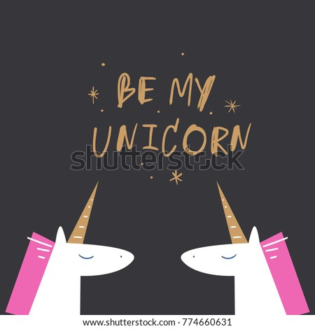 Vector, clip art, hand drawn. Romanthic, funny, unicorns, Valentine's day, letters, kawaii, hand font, stars. Decor elements, print for card, poster, t-shirt, other clothes and more. Isolated objects.