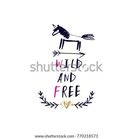 stock-vector-vector-clip-art-hand-drawn-unicorn-arrow-wild-and-free-hand-font-magic-animal-set-sketch