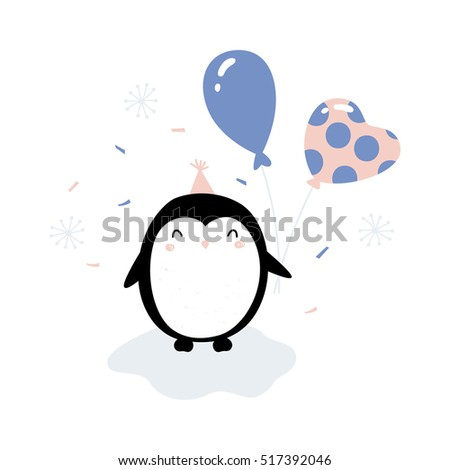 Stock Photo Vector clip art illustration isolated on white background, happy baby penguin character holding party balloons, celebrating birthday