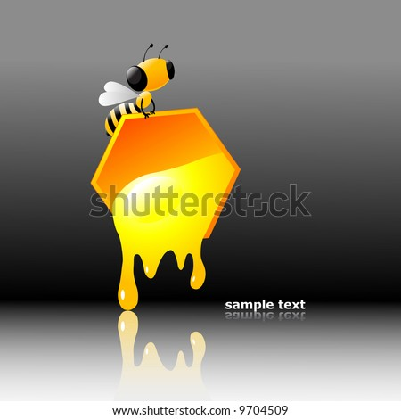 Vector clip-art illustration of a bee with fluid honey.