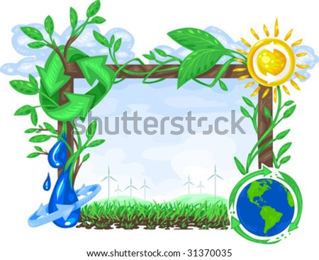 Vector, clip art illustration of billboard sign with copy space, decorated by ecology symbols including alternative energy sources, planet earth and recycle symbol.