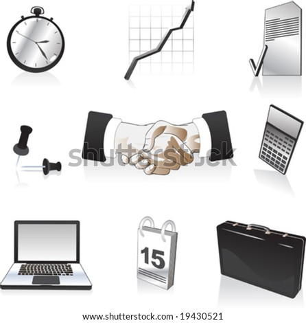 vector clip-art illustration of business icons - stock vector