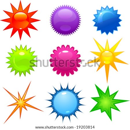 vector clip art illustration of glossy stars and bursts in various colors