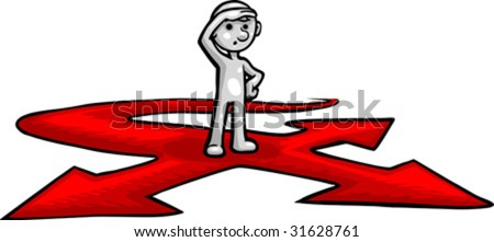 Vector, Clip Art illustration of Smartoon standing indecisive at a crossroad symbolizing life's delimas . Hand drawn artwork in a loose, expressive style, with NO gradients.