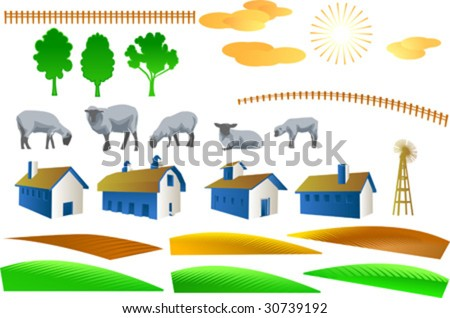 Farms Clip Art. stock vector : Vector clip art