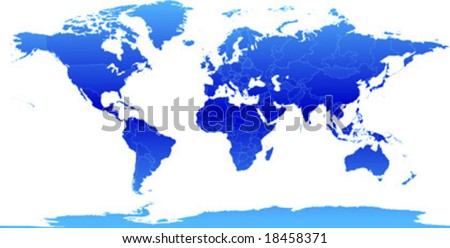 Vector clip art map of the world, with all countries and borders showing. Antarctica is included. Reference source: http://www.lib.utexas.edu/maps/