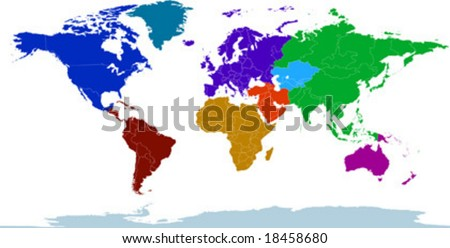 World continents map vector download free vector art stock vector clip art map of the world with all countries and borders showing continents gumiabroncs Images