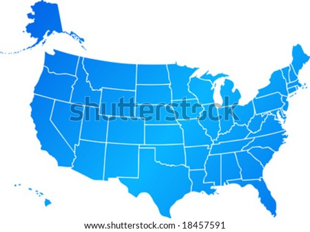 Vector clip art map of United States of America USA, with all fifty states showing, including Alaska and Hawai. Reference source: http://www.lib.utexas.edu/maps/