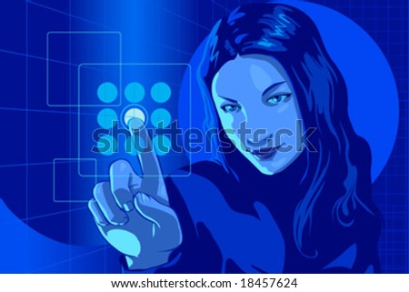 vector clip art of a cute girl in formal clothes and focused but smiling facial expression, pushing virtual touch screen access button