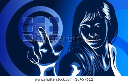 vector clip art of a cute girl in formal clothes and serious facial expression, pushing virtual touch screen access button - stock vector