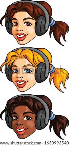 vector clip art of a young girl