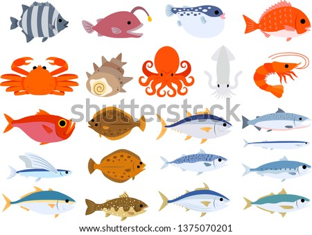 Vector clip-art of fishes & seafood set: octopus salmon shellfish blowfish crab bream yellowtail tuna mackerel carp shrimp seadevil ocean sushi ingredients