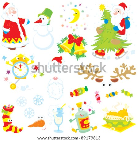 Vector clip-arts of Santa Claus, snowman, moon and stars, Christmas tree, clock, Santa's hat and beard, sweets, sock with candies, snowflakes, tall wineglass, wine bottle and fried turkey hen