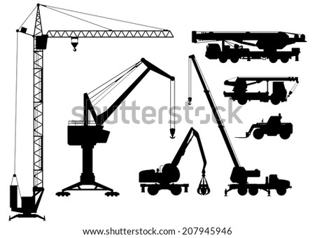 Vector clipart of building technique silhouettes black and white illustration
