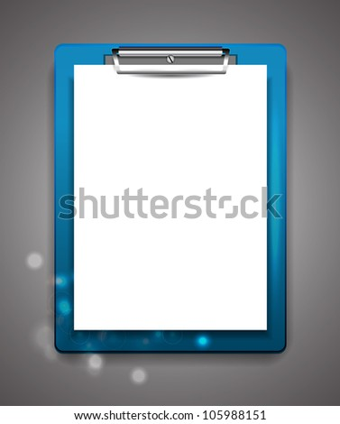 Vector clipboard with blank paper