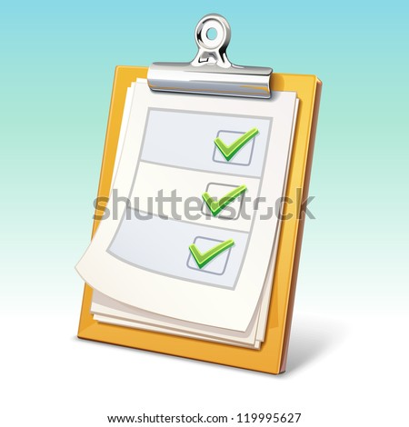 Vector clipboard with check list
