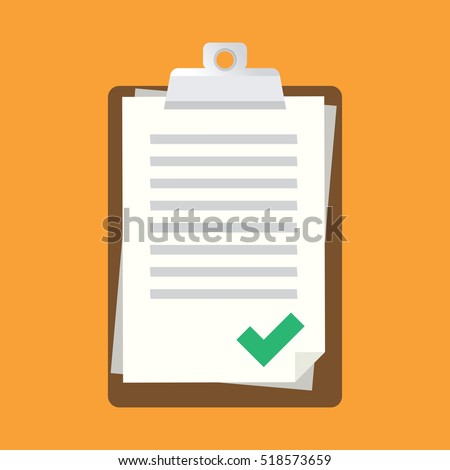 Vector clipboard with green tick