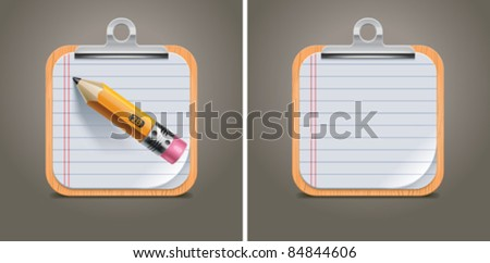 Vector clipboard with notepad page and pencil square icon