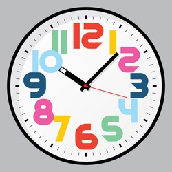 Vector clock colored numbers
