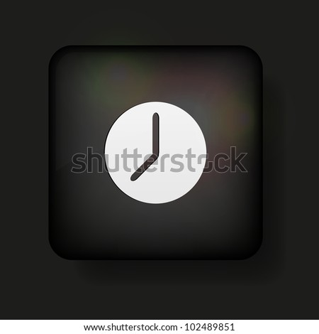 Vector clock icon on black. Eps10
