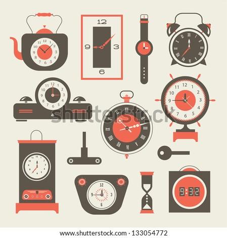Vector clock icons set