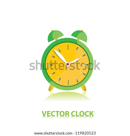 vector clocks Icon. green alarm clock.