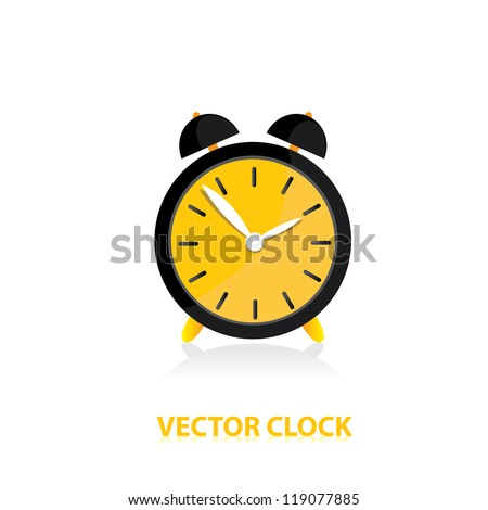 vector clocks Icon. orange alarm clock.