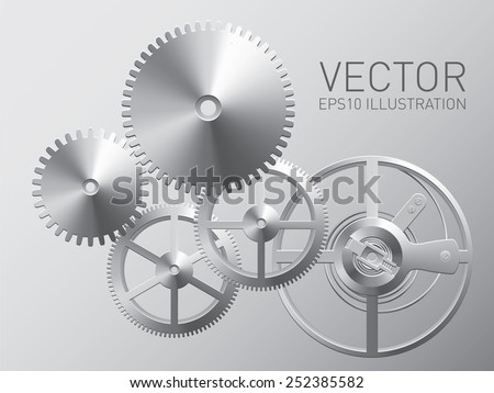 Stock Photo Vector clockwork with metal gears and cogwheels, technology background