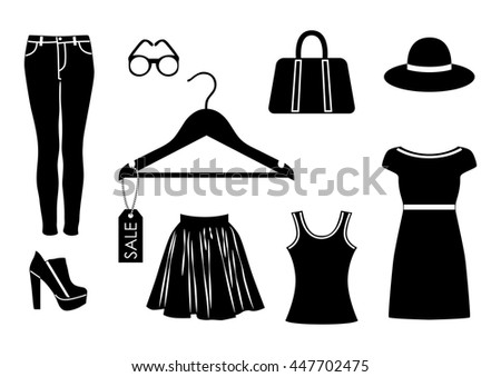 vector clothes icon set in