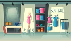 Vector clothing shop interior - wardrobe with woman clothes, cartoon mannequin and stuff on hangers. Cashbox with table inside boutique, dress collection. Fashion store with illumination in mall.