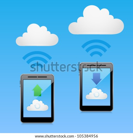 Vector cloud computing concept with tablet PC downloading and uploading data. Image contains transparency in reflection - you can put them on every surface. 10 EPS