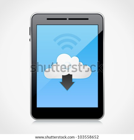 Vector cloud computing concept with tablet PC downloading data. Image contains transparency in reflection - you can put them on every surface. 10 EPS