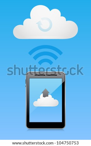 Vector cloud computing concept with tablet PC uploading data. Image contains transparency in reflection - you can put them on every surface. 10 EPS