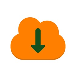vector cloud download icon. Flat illustration of cloud computing. communication technology concept isolated on white background. download sign symbol