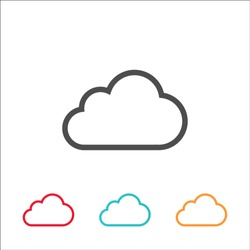 Vector cloud icon colorful flat line