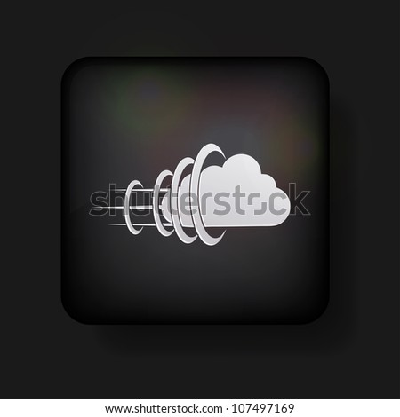 Vector cloud icon on black. Eps 10